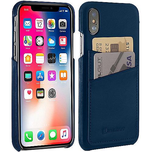 StilGut Leder Cover mit 2 Kartenfächern für Apple iPhone XS X d. blau B078BQV4 auf Rechnung bestellen