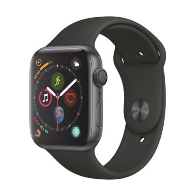 Apple Watch Series 4 GPS 44mm Aluminiumgehäuse Space Grau Sportarmband Schwarz auf Rechnung bestellen