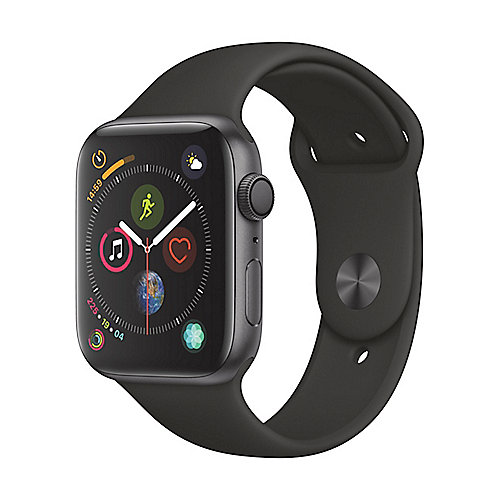 Apple Watch Series 4 GPS 44mm Aluminiumgehäuse Space Grau Sportarmband Schwarz