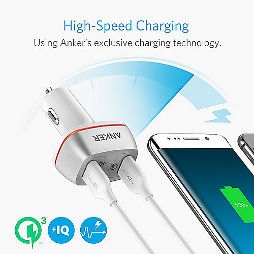 Anker PowerDrive+ 2 Power IQ 2 Port USB 3.0 Kfz Ladegerät