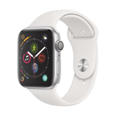 Apple Watch Series 4 GPS 44mm Aluminiumgehäuse Silber mit Sportarmband Weiß auf Rechnung bestellen