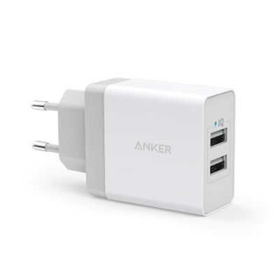 Anker  24W 2-Port USB Charger EU weiss inkl. Micro-Kabel | 0848061039856