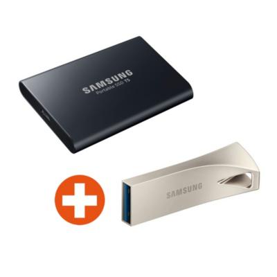 Samsung  Portable SSD T5 2TB und BAR Plus 256GB Flash Drive 3.1 USB Stick | 8806088886992