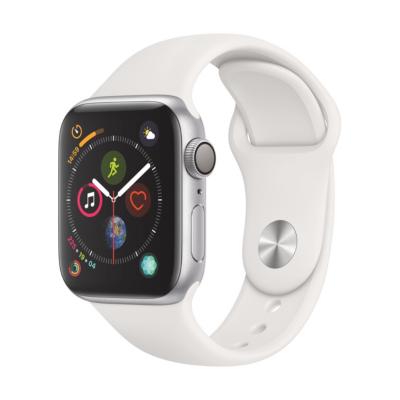 Apple Watch Series 4 GPS 40mm Aluminiumgehäuse Silber mit Sportarmband Weiß auf Rechnung bestellen