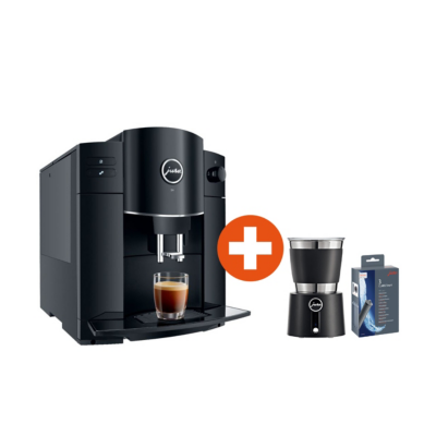 Jura  D4 Piano Black Kaffeevollautomat + Milchschäumer Hot and Cold + CLARIS Smart   7610917152216