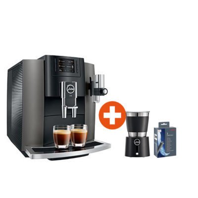 Jura  E8 Dark Inox Kaffeevollautomat + Milchschäumer Hot and Cold + CLARIS Smart 3x   7610917152674
