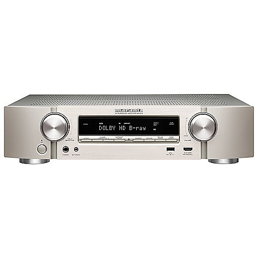 Marantz NR1510 5.2 AV Receiver 4K AirPlay WLAN BT Spotify Heos Silb/Gold kompakt