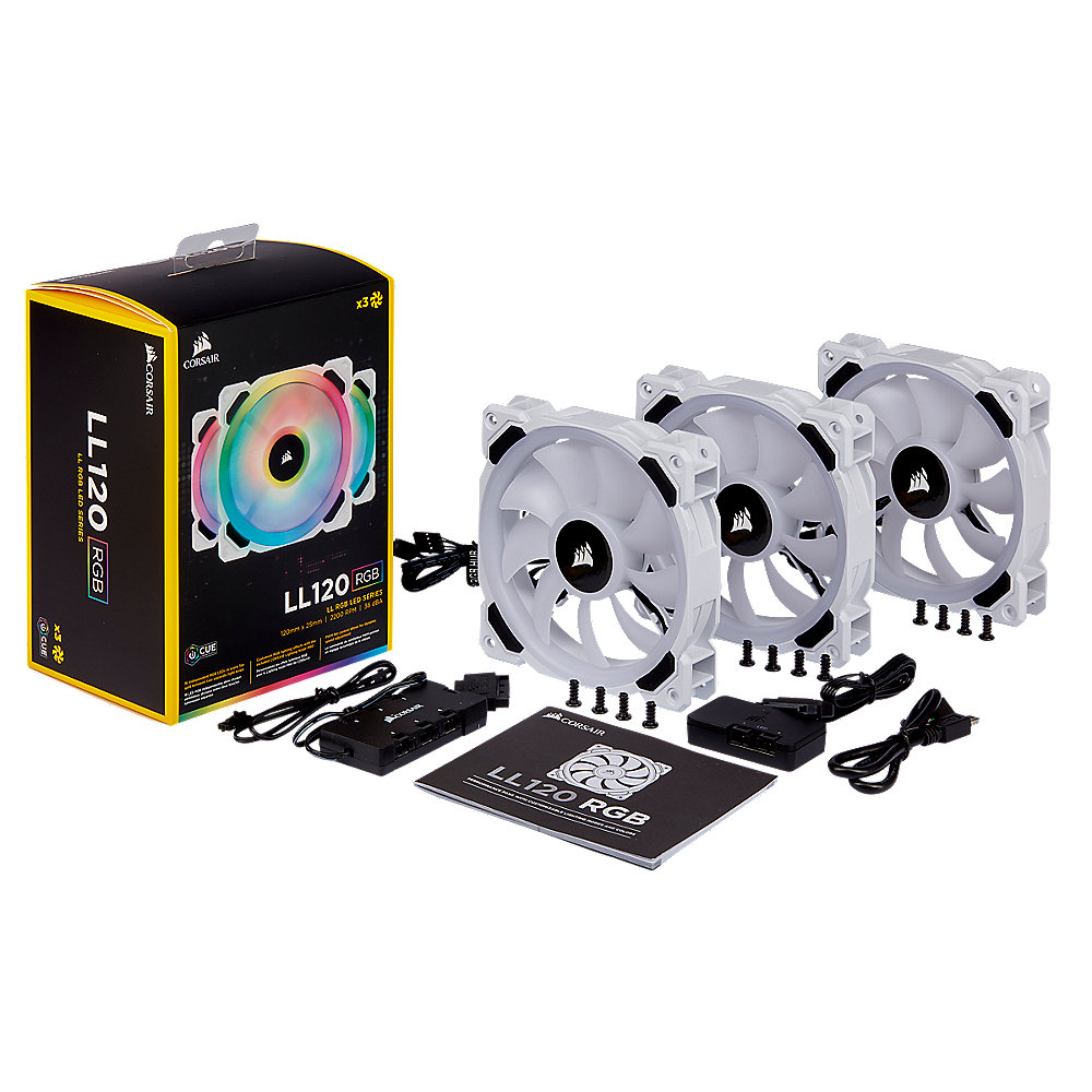 Corsair LL Series LL120 LED RGB weiß 3er Set Lüfter 120 mm, LED Steuerung
