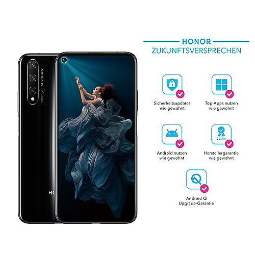 Honor 20 midnight black 6/128GB Android 9.0 Smartphone mit 32MP Frontkamera