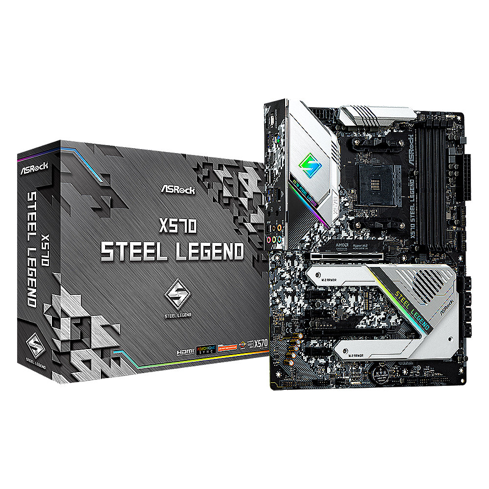 ASRock X570 Steel Legend AM4 ATX Mainboard M.2/HDMI/DP/USB3.2(Gen2)/BT