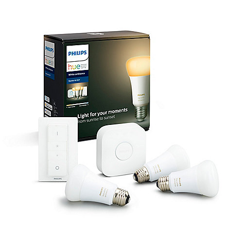 Philips Hue White Ambiance Starter Set 3xE27 LED Lampe BT +Bridge +Dimmschalter