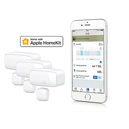 Eve Door & Window kabelloser Tür- Fensterkontakt für Apple HomeKit 3er Bundle