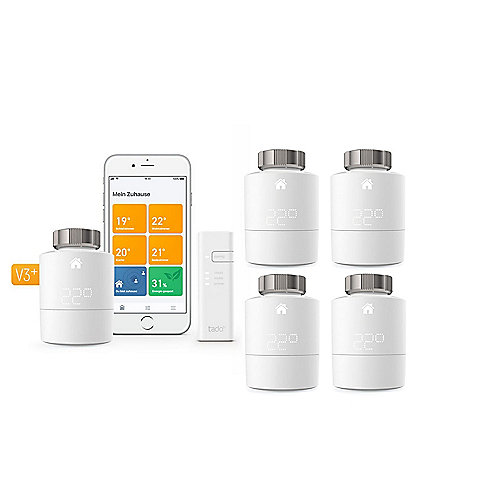 tado° Smart Starter Kit V3+ inkl. 1 Bridge & 4x Heizkörperthermostat