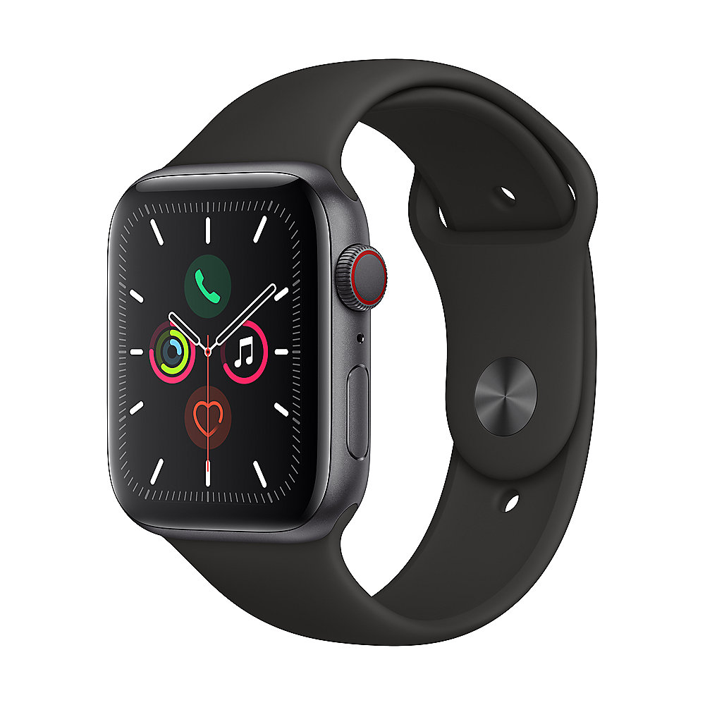 Apple Watch Series 5 LTE 44mm Aluminiumgehäuse Space Grau Sportarmband Schwarz