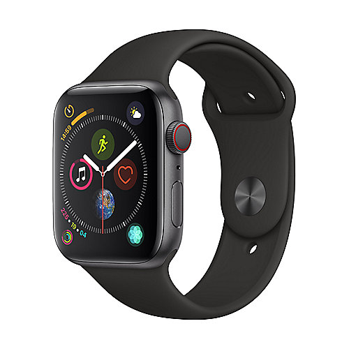 Apple Watch Series 4 LTE 44mm Aluminiumgehäuse Space Grau Sportarmband Schwarz
