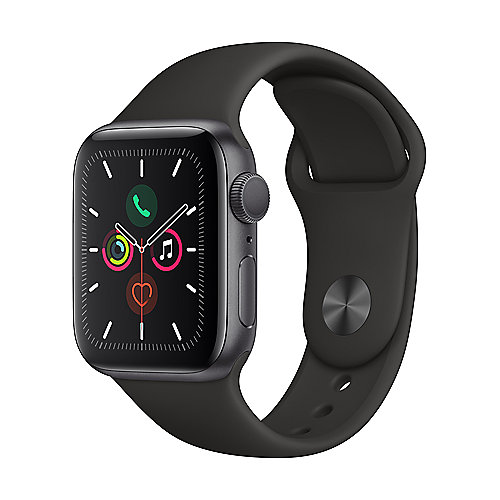 Apple Watch Series 5 GPS 40mm Aluminiumgehäuse Space Grau Sportarmband Schwarz