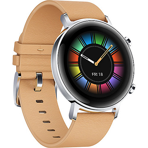 Huawei Watch GT 2 42mm Classic Smartwatch silber/beige