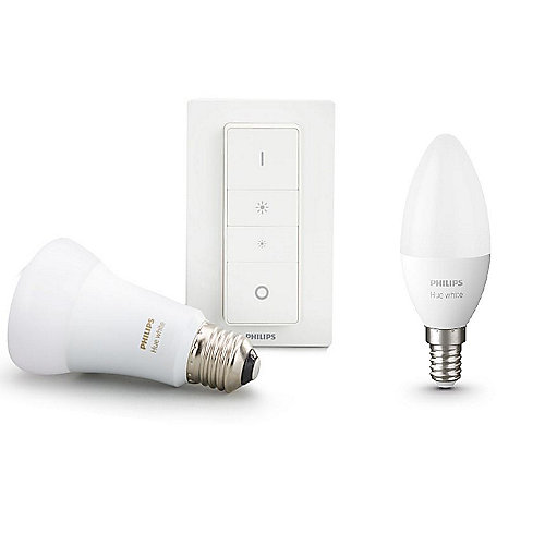 Philips Hue White Wireless Dimming Kit mit Dimmschalter & E27 + E14 Lampe BT