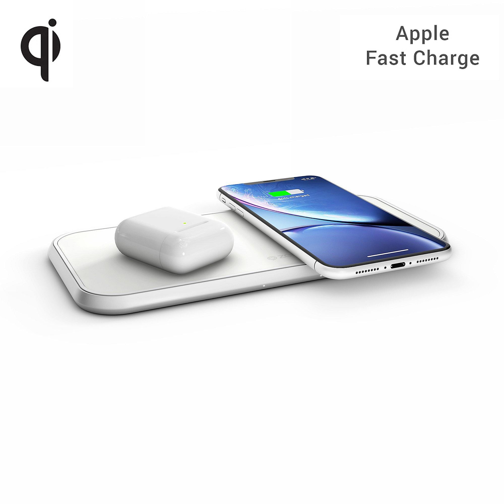 Zens Aluminium Dual Wireless Charger 10W Qi weiß