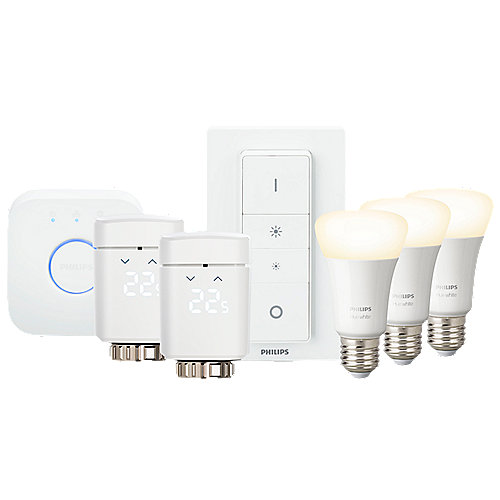 Smart Home Komfort Starter Set + 2 Eve Thermo Gen. 3 + Hue White 3xE27 + Bridge