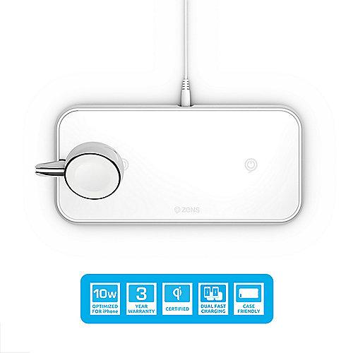 Zens Aluminium Dual Wireless Charger + Apple Watch 10W Qi weiß