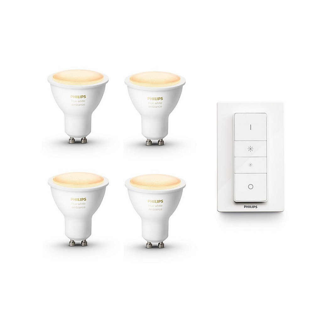 4er Pack Philips Hue White Ambiance GU10 Spots + Dimmerswitch