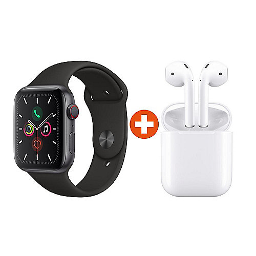 Apple Watch Series 5 LTE 44mm Aluminiumgehäuse SG Sport Schwarz + AirPods
