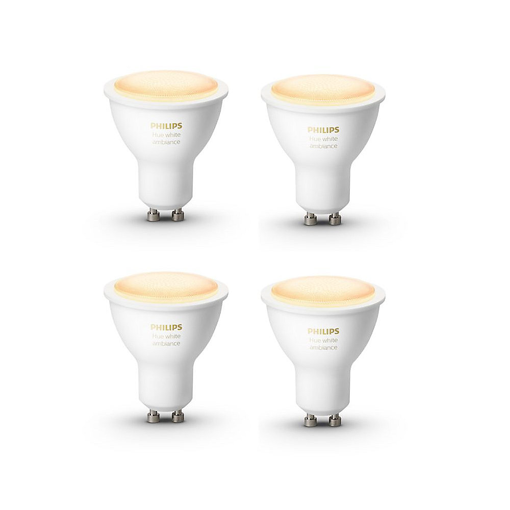 Philips Hue White Ambiance GU10 LED Lampe 2x 5 W Bluetooth 4er Pack
