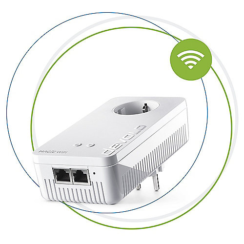 devolo Magic 2 WiFi Ergänzungsadapter 2-1-1 (2400mbps Powerline + 2xLAN)