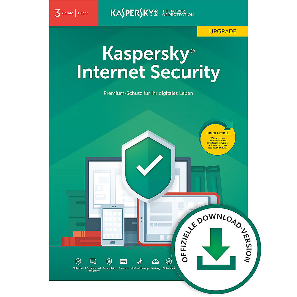 Kaspersky Internet Security Upgrade 3Geräte | 1Jahr | Download