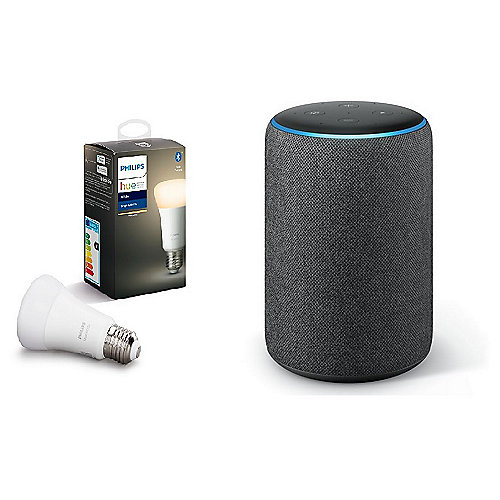 Echo Plus (2. Gen) Anthrazit + gratis Philips Hue White E27 LED Lampe BT