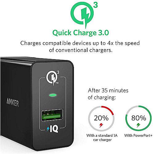 Anker PowerPort+ 1 18W Power IQ 1 Port USB Ladegerät schwarz