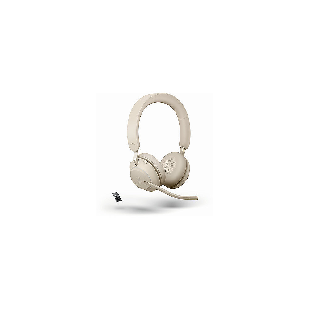 Jabra Evolve 2 65 UC Wireless Bluetooth Stereo USB-C Headset beige
