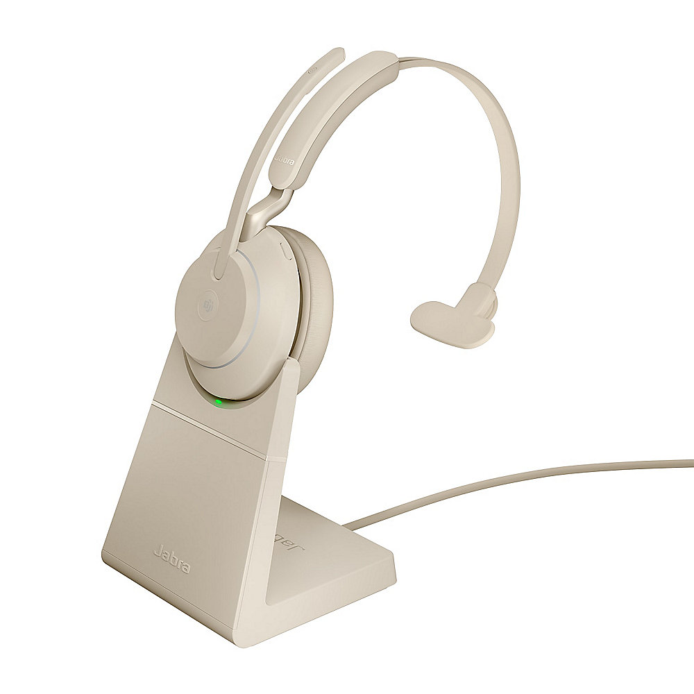 Jabra Evolve 2 65 MS Wireless Mono Headset beige m. Ladestation