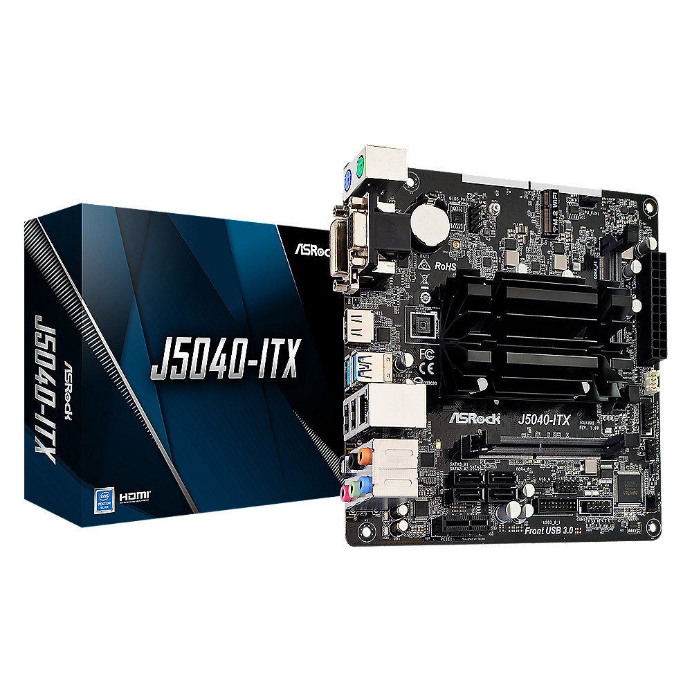 ASRock J5040-ITX Mini-ITX Mainboard mit Intel Quad-Core J5040