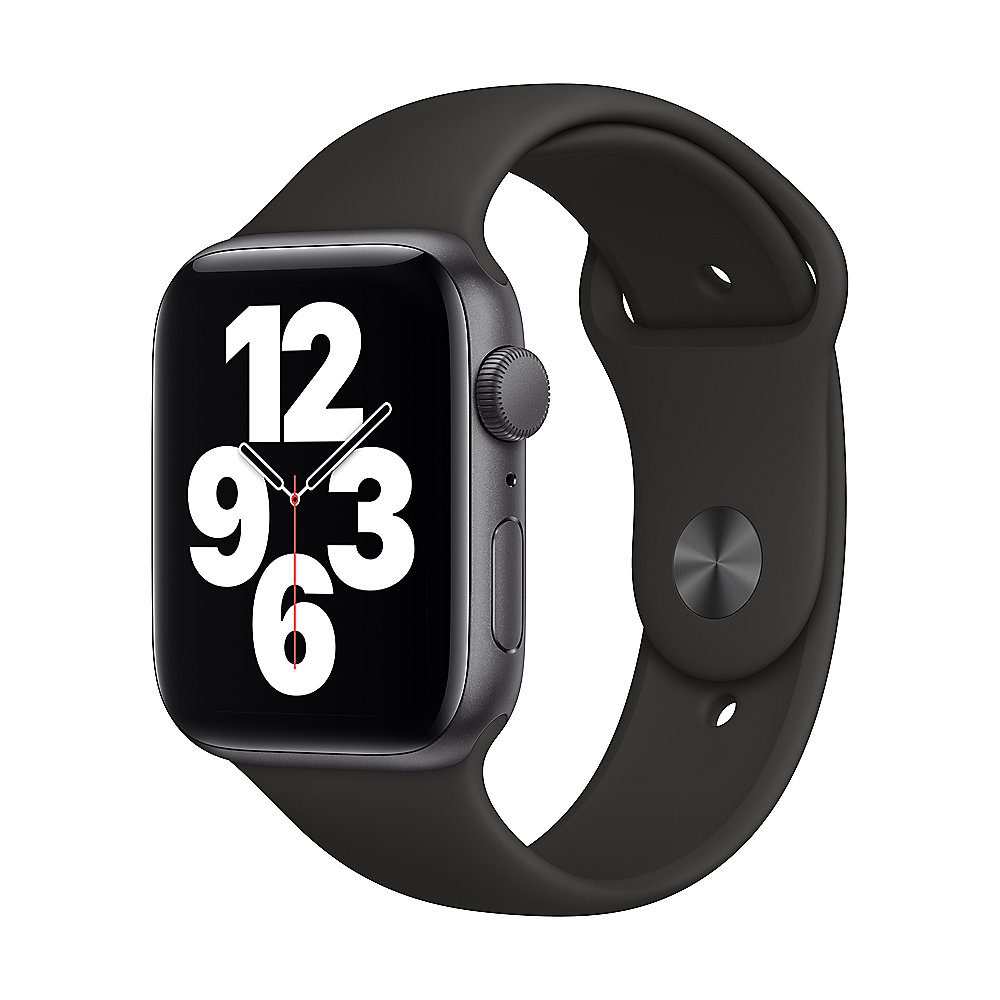 Apple Watch Series SE GPS 44mm Aluminiumgehäuse Space Grau Sportarmband Schwarz