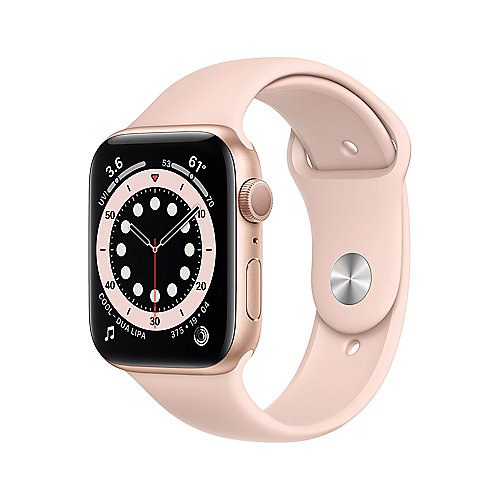Apple Watch Series 6 GPS 44mm Aluminiumgehäuse Gold Sportarmband Sandrosa
