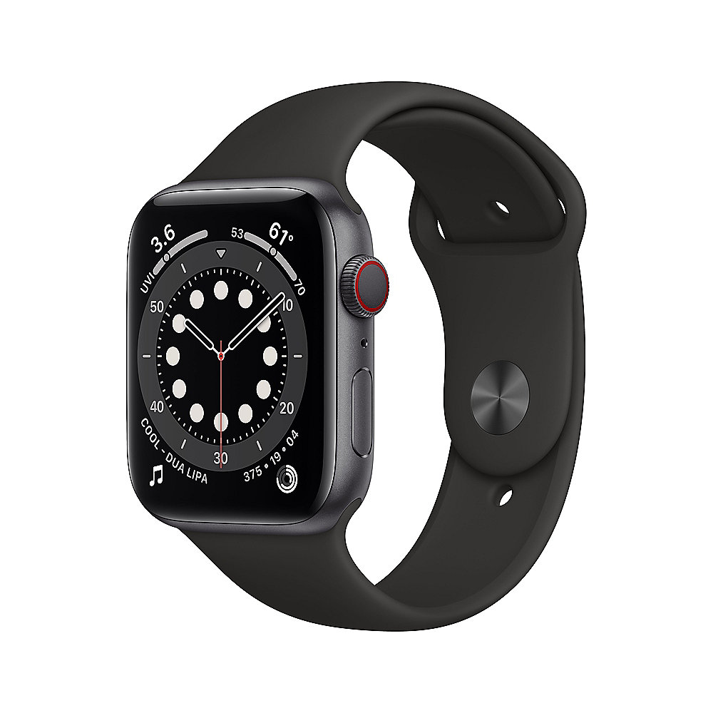 Apple Watch Series 6 LTE 44mm Aluminiumgehäuse Space Grau Sportarmband Schwarz