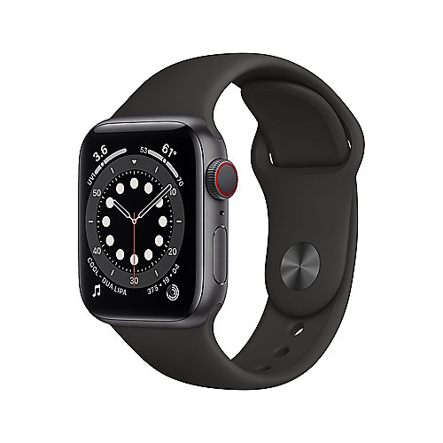 Apple Watch Series 6 LTE 40mm Aluminiumgehäuse Space Grau Sportarmband Schwarz