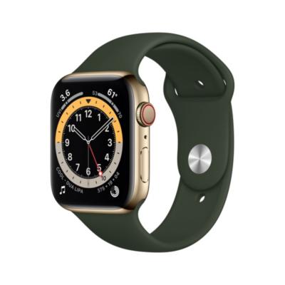 Apple Watch Series 6 LTE 44mm Edelstahlgehäuse Gold Sportarmband Zyperngrün