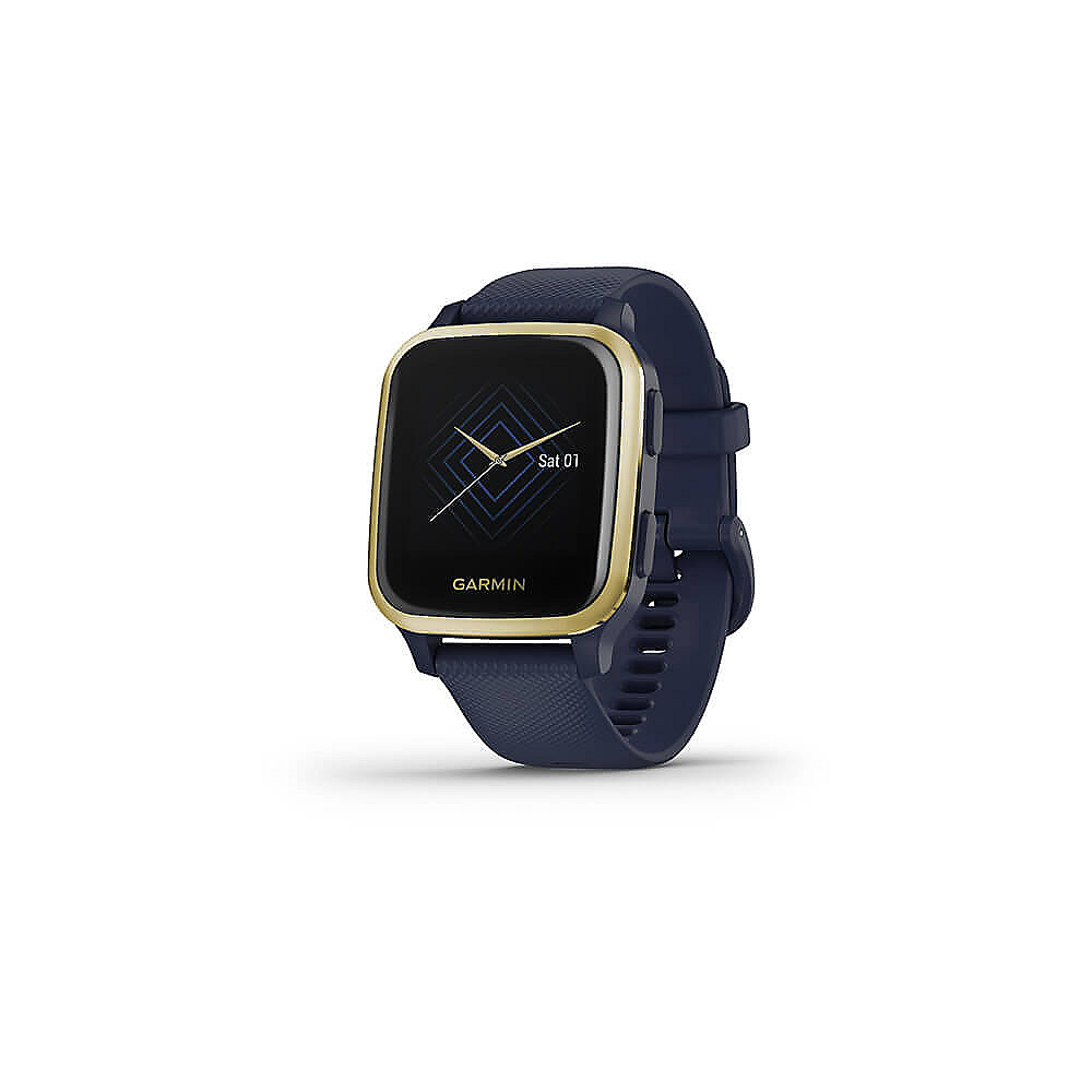 Garmin Venu Sq Music GPS-Fitness-Smartwatch blau/gold HF-Messung