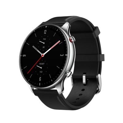 Amazfit GTR 2 Classic 47mm Smartwatch Edelstahlgehäuse, schwarzes Armband