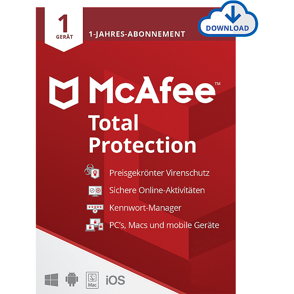 McAfee Total Protection 01-Device 1-Jahres-Lizenz