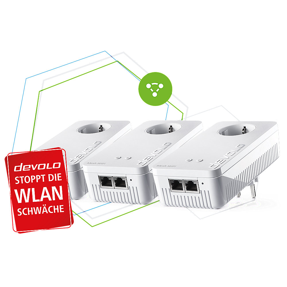 devolo Mesh WLAN 2 Multiroom Kit (2400 Mbit/s, 6x GB LAN, bestes Mesh Tri-Band)