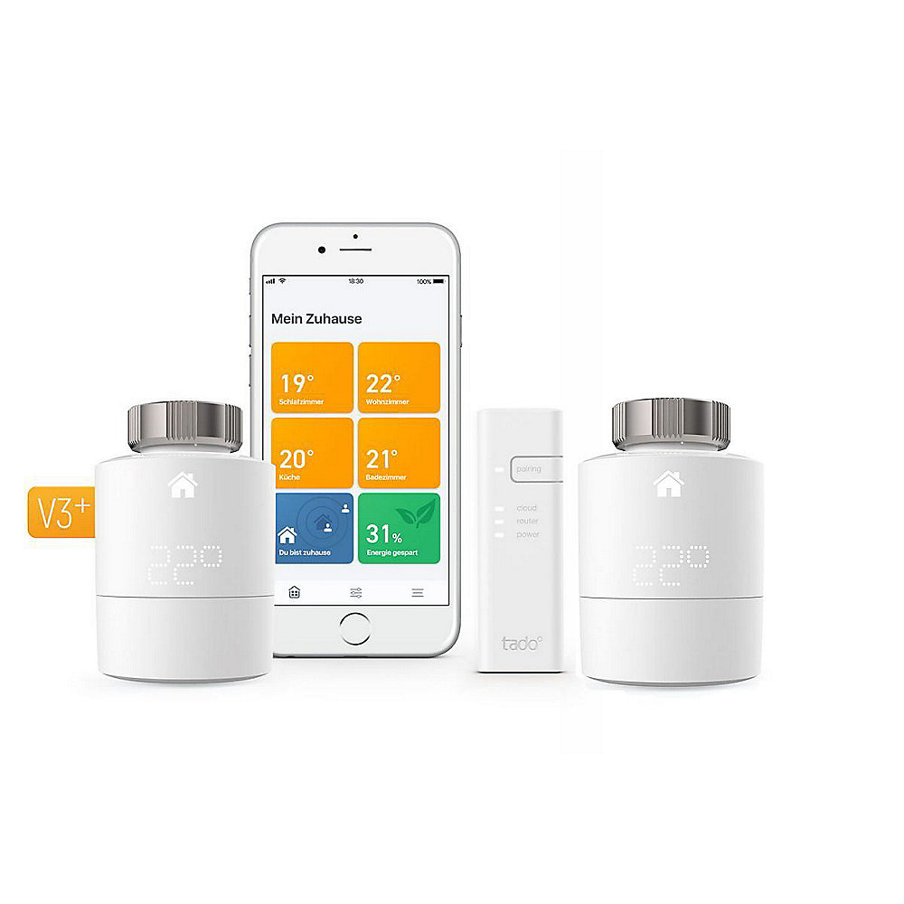 tado° Smart Starter Kit V3+ inkl. 1 Bridge & 1x Heizkörperthermostat