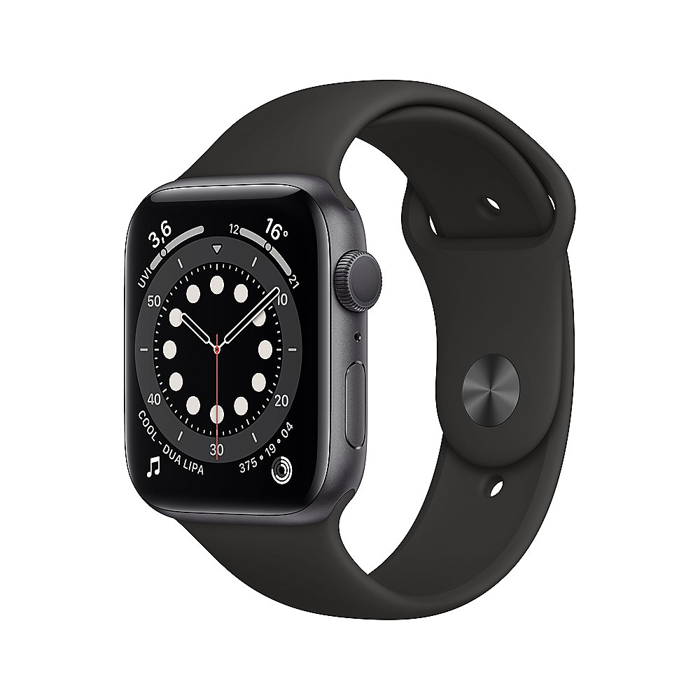 Apple Watch Series 6 GPS 44mm Aluminiumgehäuse Space Grau Sportarmband Schwarz