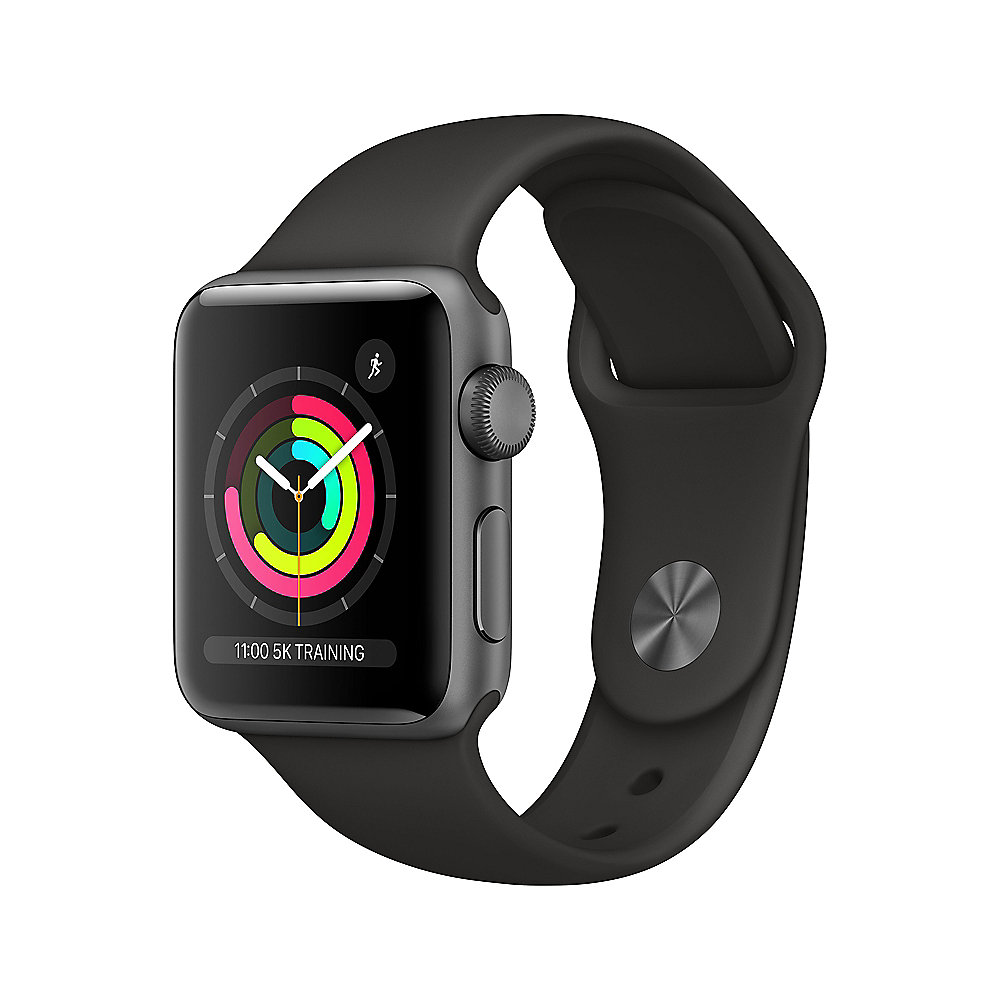 Apple Watch Series 3 GPS 38mm Aluminiumgehäuse Space Grau Sportarmband Schwarz